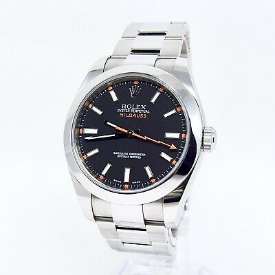 $ CDN11923.53 • Buy Rolex Milgauss 116400 Black Dial Box And Papers 2012 Clear Glass Discontinued