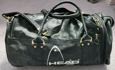 Vintage Head Black Leather Gym Sports Bag Holdall  • 34.99£