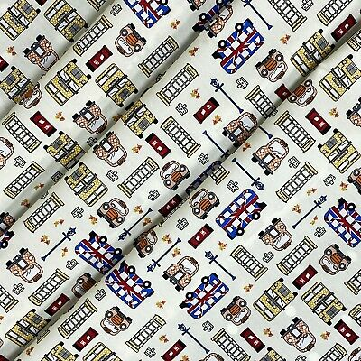 £5.99 • Buy Cream London Theme Cotton Printed Fabric 45  Wide Craft Clearance Per Metre