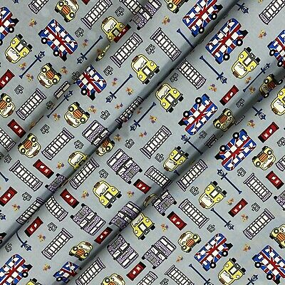 £5.99 • Buy Grey London Theme Cotton Printed Fabric 45  Wide Craft Dress Clearance Per Metre