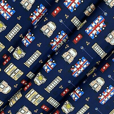£5.99 • Buy Navy London Theme Cotton Printed Fabric 45  Wide Craft Dress Clearance Per Metre