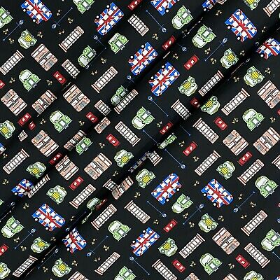 £5.99 • Buy Black London Theme Cotton Printed Fabric 45  Wide Craft Clearance Per Metre