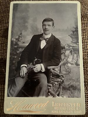 Victorian Cabinet Card Photo Dapper Young Man In Bow Tie - Heawood, Leicester • 5.99£
