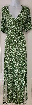 AU75.12 • Buy Womens Asos Curve Olive Green Floral Front Slits Stretch Tea Maxi Dress 20 New.