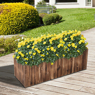 £49.99 • Buy Outsunny Raised Flower Bed Wooden Rectangualr Planter Container Box Garden Wood
