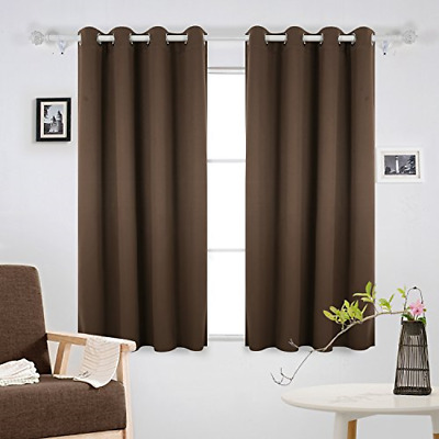 £26.85 • Buy Deconovo Curtains Mocha Super Soft Thermal Insulated Eyelet Blackout Curtains 46