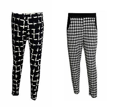 £10.99 • Buy New Women's Ladies Dogtooth Check Print Skinny Tapered Pants Trousers Sizes 8-14