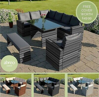 £849.99 • Buy Rattan Garden Furniture 9 Seater Corner Dining Table Bench & Armchair FREE COVER