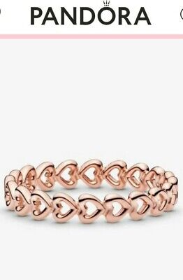 AU34.99 • Buy Beautiful Authentic Pandora Row Of Hearts Rose Gold Ring ALE R MET Sz 56 NEW