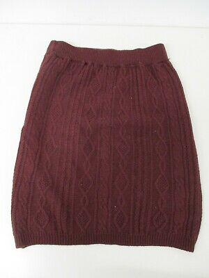 £15 • Buy Aran Cable Knit Skirt, Lined, 100% Wool, Burgundy Red, 26  Waist, 22  Long