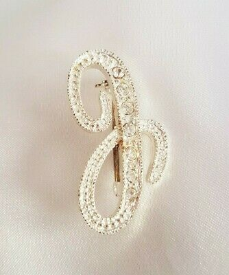 £6.99 • Buy Brooch ~ Alphabet Letter Initial J ~ Sparkling Clear Diamantes ~ Silver Tone