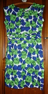 BRORA Linen White Lime Green Dark Blue Long Fitted Dress 14 Excellent Condition • 7.99£