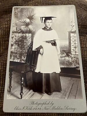 Victorian Cabinet Card Photo Young Boy In Robe & Mortar Board - Chas Kirk, FRPS • 5.99£