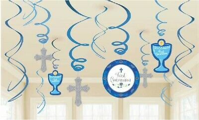 1st HOLY COMMUNION - 12 SWIRLS - BLUE BOYS Party Hanging Decoration CROSS First • 5.99£