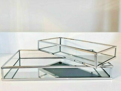 £19.99 • Buy Set Of 2 Rectangle Silver Mirror Trays Vanity Perfume Makeup Candle Tray Plate