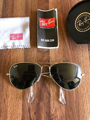 AU73.35 • Buy Ray-Ban Aviator Grey Green Lenses 58mm Sunglasses - RB3025-13 - With Case