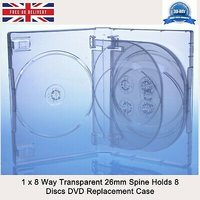 £4.99 • Buy 1 X 8 Way Transparent 26mm Spine Holds 8 Discs Empty New Replacement DVD Case