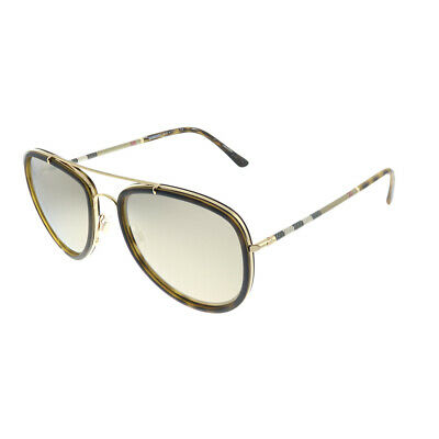 $159.99 • Buy New Burberry BE 3090Q 10525A Brushed Gold Havana Sunglasses Gold Mirror Lens
