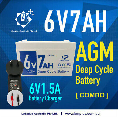 AU47.99 • Buy New 6V 7AH SLA Rechargeable AGM Battery & 6v 1.5A Battery Charger / Power Supply