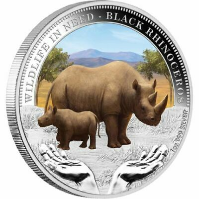 AU53 • Buy 2012 PM $1 1oz Silver Coloured Wildlife In Need Series Black Rhino Coin D5-607