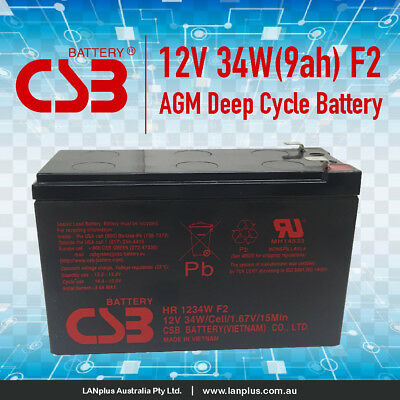 AU34.90 • Buy CSB HR1234W F2 12V 9Ah High Rate VRLA NBN UPS Alarm Battery Long Life Warranty
