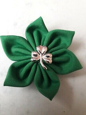 £1.75 • Buy Small Handcrafted Green Fabric Flower Brooch With Silver Shamrock. 6cm