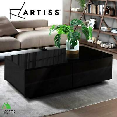 AU110.50 • Buy Artiss Modern Coffee Table 4 Storage Drawers High Gloss Living Room Furniture Bl
