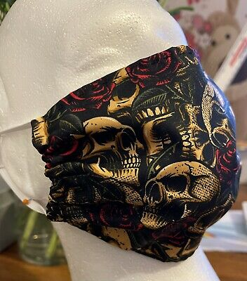 £2 • Buy Handmade Face Covering Mask 100% GOTHIC SKULLS AND ROSES 💀💀🌹🥀