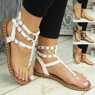 £11.99 • Buy  Gladiator Sandals Flats Toe Post Strappy Summer Comfy Shoes Womens Ladies Size
