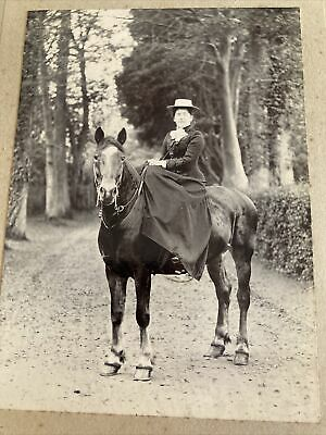 Victorian Cabinet Card Photo Woman Side-saddle On Horse 21x15cm • 8.99£
