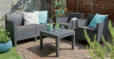 £329 • Buy Keter 4 Piece Rattan Garden Set Furniture Chairs Sofa Table Patio Conservatory