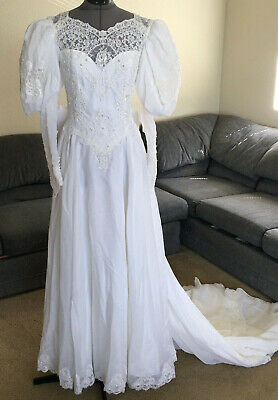 AU292.04 • Buy Vintage 70s 80s Wedding Dress Long Puff Sleeves Matching Hat & Bag Train 10 Lace