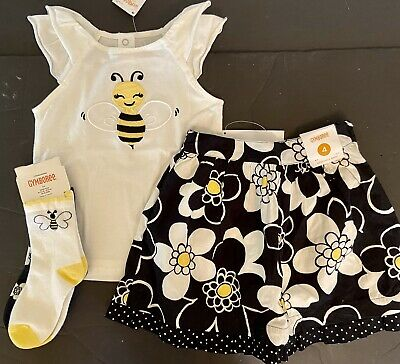 """$49.99 • Buy NWT Girls 4/4T Gymboree """"BEE CHIC"""" Cotton Blk/Yellow/Wh FLORAL SKIRT TOP 2-SOCKS"""