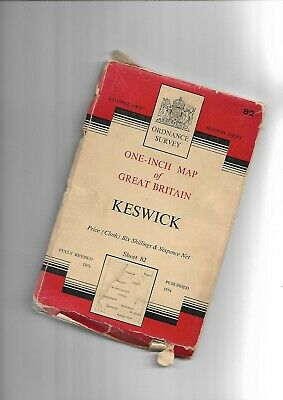 OS 1  Seventh Series Map KESWICK 82 1954 Cloth • 5£