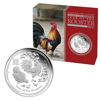AU42 • Buy 2017 Perth Mint $1 1oz Year Of The Rooster Silver Proof Coin D5-710