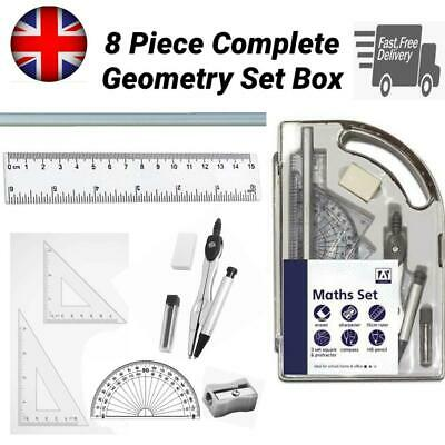 £3.99 • Buy 9 Piece Maths Geometry Set Exam Stationery Compass Protractor Back To School CMA