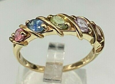 AU339 • Buy 9k Solid Gold W/ Multi Color Sapphire Ring 3.65g Size U -  10 1/4