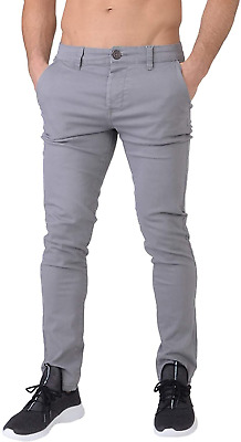 £26.04 • Buy Crosshatch Mens Chinor Designer Slim Fit Tapered Chinos Jeans Charcoal Grey W30
