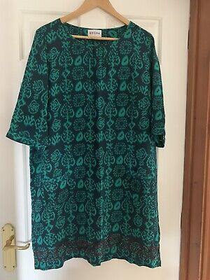 Brora Pure Silk Emerald Green/Black Embroidered Shift Dress UK 18 • 35.49£