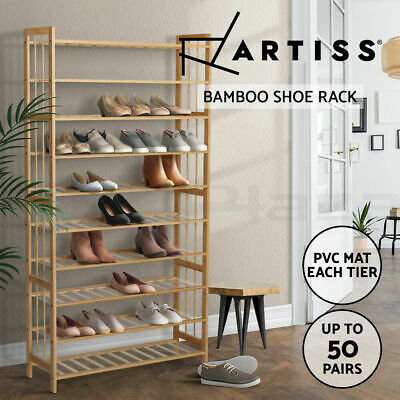 AU98.95 • Buy 10-Tier Bamboo Shoe Rack Shelf Stand PVC Mat Up To 50 Pairs Shoe Rack 5kg/tier