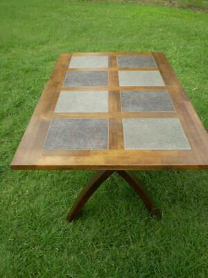 AU195 • Buy Modern 6 Seater Dining Table  Timber With Slate Tile Inserts Canterleaver  Legs