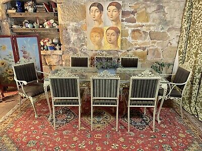 AU11.50 • Buy Vintage Retro French Louis Style Dining Suite~Table+8 Chairs~KentCast~Metal Lace