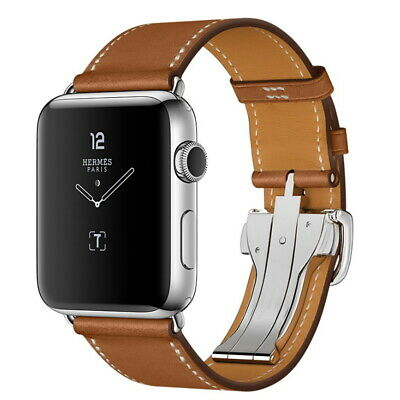 AU33.99 • Buy Deployment Buckle Leather Watch Band Strap For Apple Watch 44/42mm 40/38mm