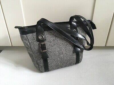 £7.99 • Buy DICE Bag Hand Bag Black Grey Dogtooth Two Handle Knit Small Multi Compartment Zi