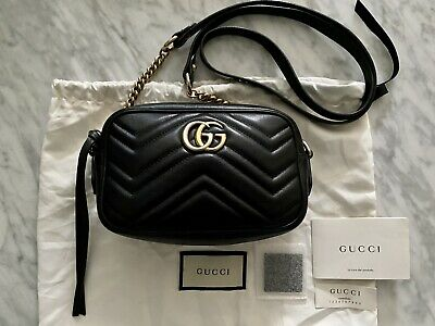 AU1150 • Buy Authentic Gucci Black Leather Gg Marmont Matelasse Mini Bag Rrp$1585