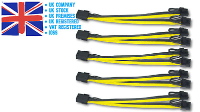£11.99 • Buy 5-Pack PCI-E 8pin To 2x 8pin (6+2) PCI Express Power Adapter Cable Splitter