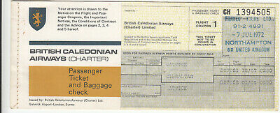 British Caledonian Airways Unused Flight Airline Ticket Lgw/gib/lgw • 5£