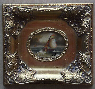 Original Oil Seascape Painting With Boat In The Stormy Sea Signed Framed • 75£