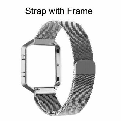 AU7.64 • Buy Milanese Stainless Steel Magnetic Loop Wrist Band Strap + Frame For Fitbit Blaze