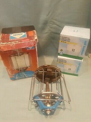 Vintage Camping Gaz Belvedere Lantern & 2x New Glass Shade For 907/904 Cylinder • 29.99£
